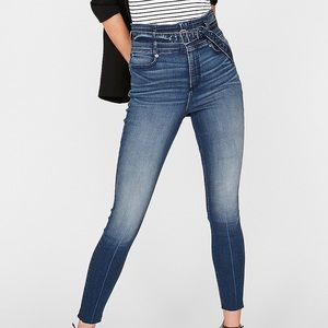Express Super High Waisted Belted Ankle Leggings